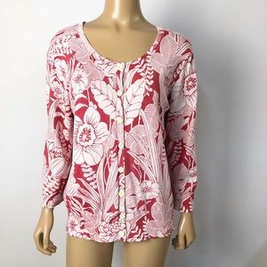Chico's women's floral button front silk blend